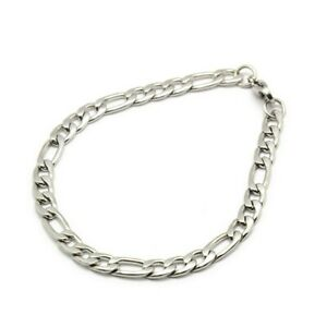 Stainless Steel 6mm Figaro Curb Chain Bracelet Mens 21cm UK