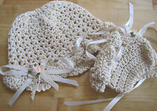 SUPERB HAND CROCHETED CHRISTENING HAT + BOOTIES. AGE 0-3M