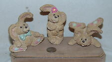 Set of 3 Bunnies Rabbits figurines- Cute!