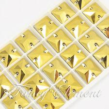 24pcs Glass Square 3240 Gold 16x16mm Crystal Sew On Flatback Gem Jewelry Beads