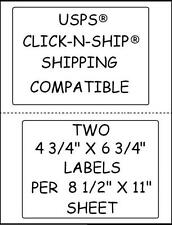 500 STICKY!!! LABELS 2 PER SHEET FOR USPS® CLICK-N-SHIP SHIPPING