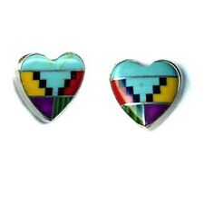 Large Navajo Multicolor Genuine Stones Inlay 10 mm Heart Post Earrings Streling