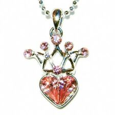 Pink w Swarovski Crystal Fairy ~Princess CROWN Love HEART charm Pendant Necklace