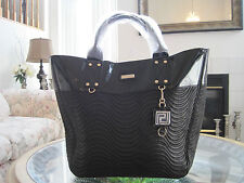 VERSACE PARFUMS WOMEN BLACK DUFFLE BAG WEEKENDER TOTE PURSE HANDBAG!