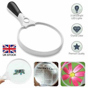 25X Extra Large Magnifying Glass With 3 LED Light Illuminated Reading Loupe UK