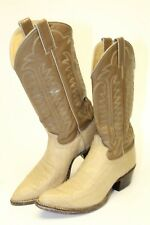 Justin USA Made 9714 Mens 8.5 D Tall Brown Beige Leather Cowboy Western Boots