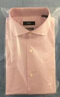 Hugo Boss Men's Sharp Fit Spread Collar Dress Shirt, Pink, Size 16 32/33