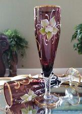 Italian Venetian Original Barbini Murano Handmade 24K Gold & Purple Wine Flutes