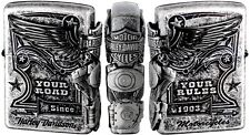 Zippo Harley Davidson Japan Limited 3-sides Metal Black Satin Silver F/S HDP-28