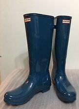 Nwob Hunter Women Blue Sparkling Shiny Gloss Rain Boots Size 10