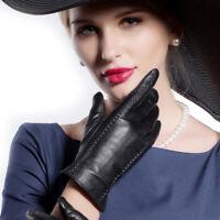 Women Pure Long Fleece Winter Warm Lambskin Windproof Soft Leather Gloves