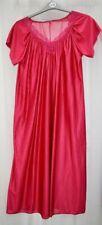ladies cerise red satin shiny nightie nightdress retro vintage style Long length