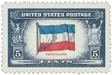 1943 Flag of Yugoslavia 5 cents US Postage Stamp Scott #917  MINT