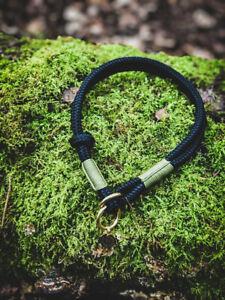 Rope Slip Dog Collar in Blackthorne Solid Brass Hardware Handmade