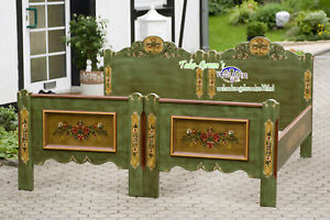 Voglauer Anno 1800 Old Green Single Beds 90x190 CM Cottage Antique Double Bed