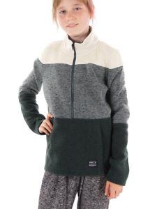 O'Neill Fleece Pullover Function Sweater Button Up Green Collar Warm