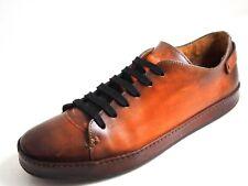 Santoni Low Top Sneakers Brown Burnished Leather Men Size US 10.5 EU 43.5