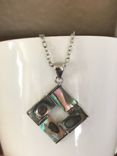 "Pendant Necklace 18"" Abalone Diamond Shaped"