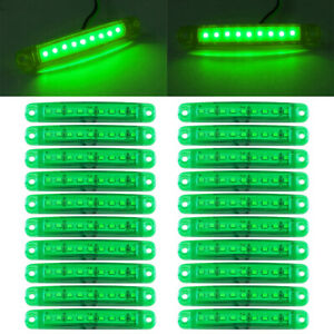 20X Green 9 LED Sealed Side Marker Clearance Lights For Truck Trailer Lorry 24V