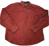Woolrich Woolen Mills Mens Red Heavy Flannel Button Up Shirt Sz  L