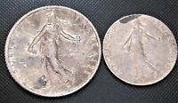 1918 France 1 Franc & 50 Centimes KM# 844.1, 854 - 2 Silver Coins