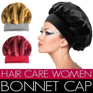 Women Silk Night Sleep Cap Hair Care Bonnet Hat Head Cover Satin Black Turban