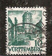 German Occupation - Wurttemberg Stamp - Scott #8N33/OS4 10(pf) Canc/LH 1948-1949