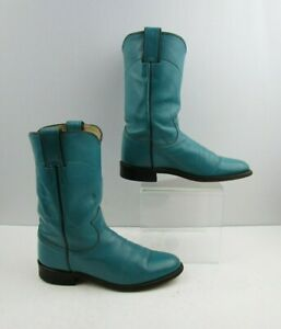 Ladies Justin Blue Leather Roper Western Boots Size: 6 B