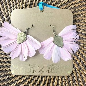 Anthropologie Shiraleah Chicago Chantae Feather Earrings Boho Pink New