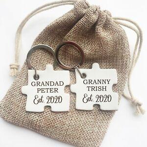 Personalised Pair of Keyrings Grandma Grandad Gift, Birthday Gift Grandparents