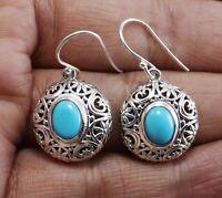 Sleeping Beauty Turquoise Gemstone Dangle Women Silver Earrings 925 Sterling CCI