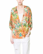 Zara Blouse Polyester Floral Tops & Shirts for Women