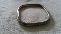 "Vintage bangle bracelet hollow tube square round 2 5/8""-3"" ID MOD silver tone"