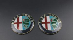 2pcs 74mm Alfa Romeo Gold Front Hood Back Boot Trunk Badges Emblems Stickers