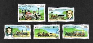 Laos 1997 Early Railway Locomotives short set of 5 values used