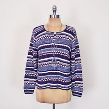 Vtg 90s Grunge Navy Blue Striped Slouchy Oversize Knit Sweater Jumper Top S M