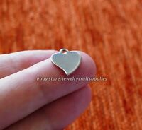 5x Small Heart Charms for Bracelet Stainless Steel Hypoallergenic Pendant Silver