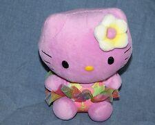 Hello Kitty TY Stuffed Plush Purple CAT Hawaiian Flower Hula Tutu Skirt Sanrio