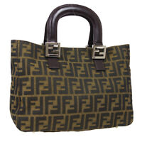 FENDI Zucca Hand Tote Bag 20 26693 089 Purse Brown Canvas Leather Italy 33385