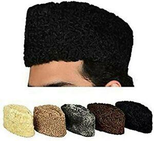 Karakul Jinnah Persian Lamb Broadtail Kufi Fur Sheep Hat Afghan Karzai Cap