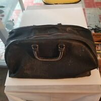 Vintage Black Retro Doctor's Satchel Bag, 2 Zippers, Collectible