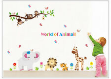 Monkey Jungle Animal Wall stickers Kids Nursery Bed Playroom Lion Elephant Tiger