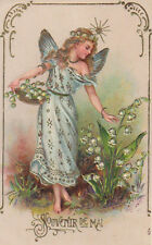 Fairy In Blue Picking Lily Of The Valley Original Antique Art Postcard