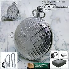 Silver Antique Pocket Watch Quartz 47 MM Men Gift Fob Chain and Gift Box P06