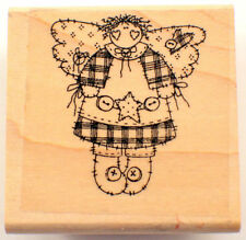 Country Angel With Buttons Wooden Rubber Stamp