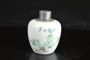 A4535: XF Chinese Pottery Tin Flower Poetry pattern TEA CADDY Chaire Container