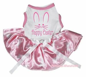 Happy Easter Rabbit Face White Top Light Pink Bunny Dots Pet Dog Puppy Cat Dress