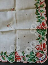 Vintage BURMEL Christmas Bells Hanky Unused With TAG