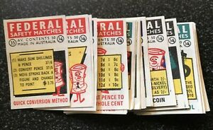1966 DECIMAL CHANGEOVER Federal Matchbox Labels Set Of 42 Near Mint Condition
