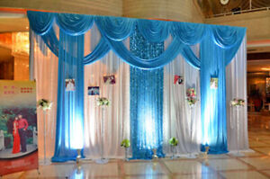 Lake Blue Wedding Backdrop Decor Party Event Fabric Drapes Sequin Curtain Swag